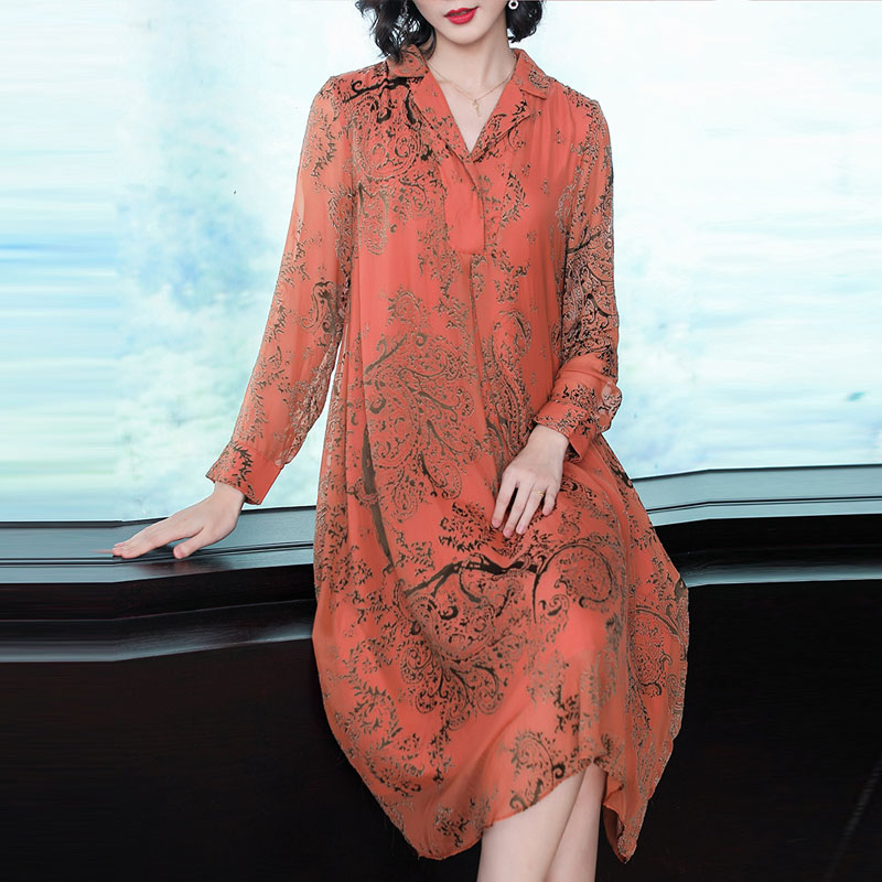 Elegant Women Robe Vintage Spring Orange Dresses Print Long Sleeve Dress Floral Plus Midi Size Clothing Jacquard Party 2019 naOOH