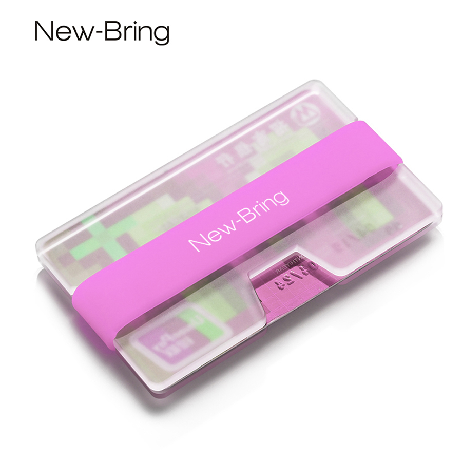 NewBring Summer Mini Credit Card Holder Woman with Fluorescence Business Card Money Slim Wallet Female