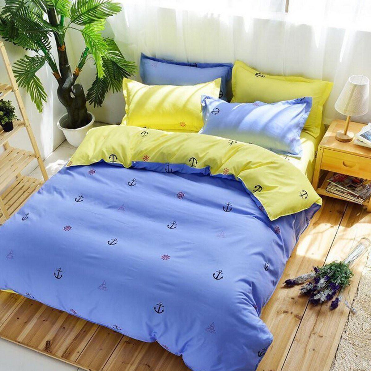 Home textile seafaring journal printed bedding sets cotton - King size bed sheet set ...