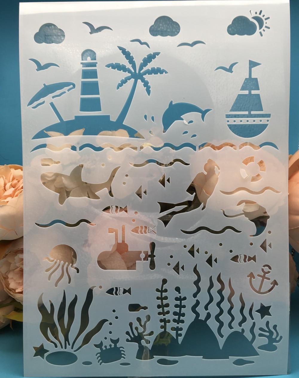 A4 Sea Ocean World DIY Layering Stencils Wall Painting Scrapbook Coloring Embossing Album Decorative Card Template