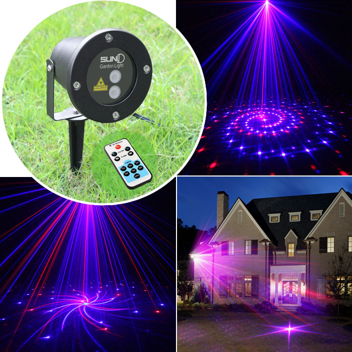 12 patterns red blue christmas lights garden laser projector outdoor waterproof xmas tree holiday party landscape - Laser Projector Christmas Lights