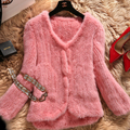 100% Real Mink Fur Knitted Coat  Natural Mink Fur Overcoat BE1420 EMS Free Shipping