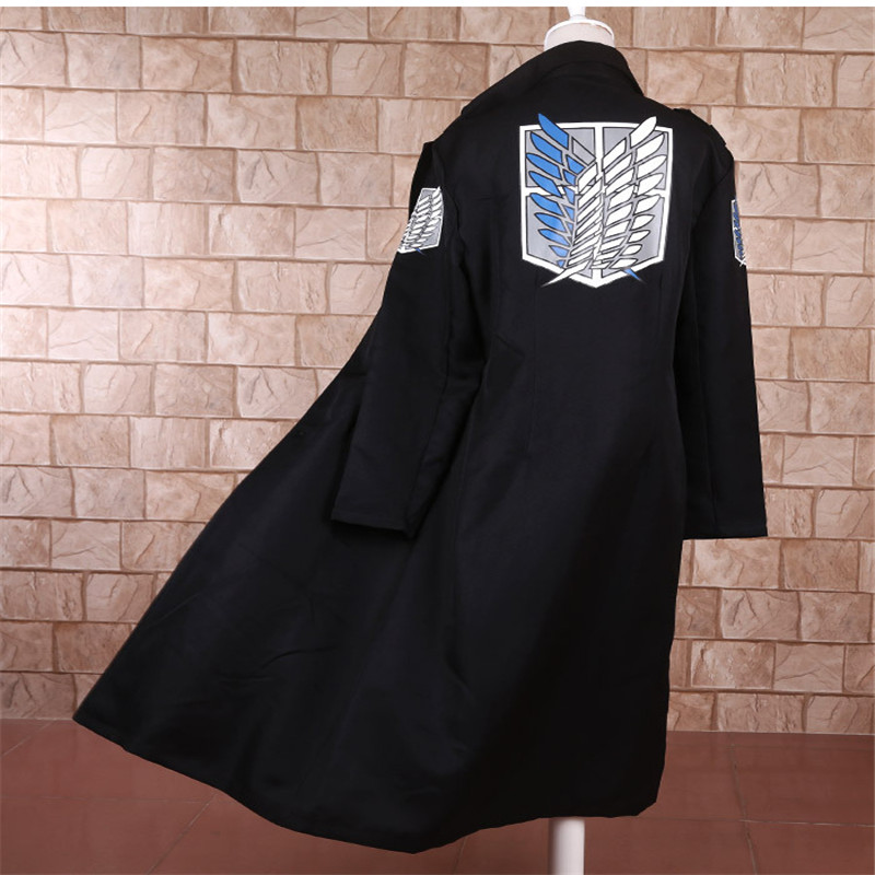 Anime Shingeki No Kyojin Levi Rivaille Jacket Cloak Adult Halloween Cosplay Costume Attack On Titan Windbreaker Black