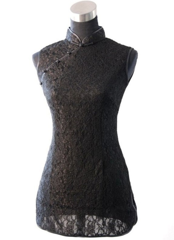 New Arrival Black Chinese Women's Lace Shirt Tops Sexy Slim Sleeveless Blouse Vintage Button Clothing Size S M L XL XXL WS004