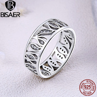 BISAER High Quality 925 Sterling Silver Flower Leaf Leaves Story Clear CZ Ring For Women Sterling