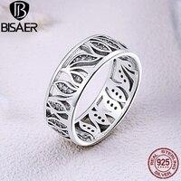 Oryginalna 925 Sterling Silver Flower Liść Historia, Sparkling Wyczyść CZ Wieżowych Pierścienie dla Kobiet Zaręczyny Biżuteria Prezent
