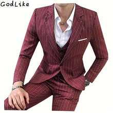 2017 Men s Stripe Red Blazer Suits One Button Custom Men s Wedding And Party Suits