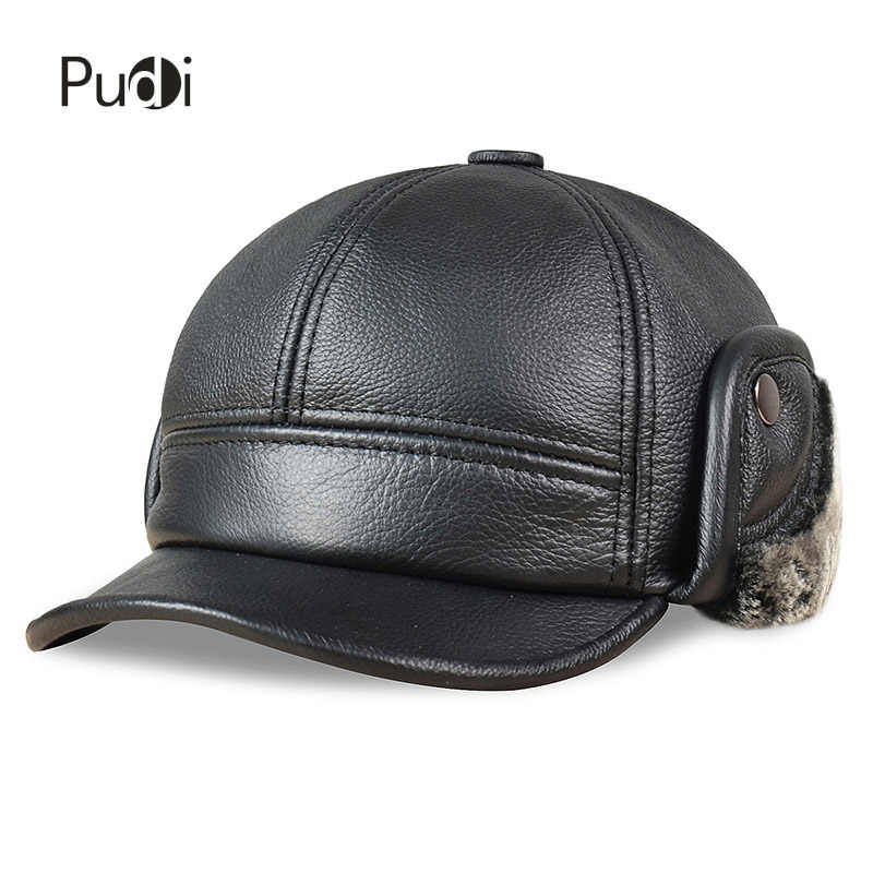 HL083 Men s Genuine Leather baseball caps hats Russian Winter snow Warm  baseball Hat   Cap with cef273fb46d7