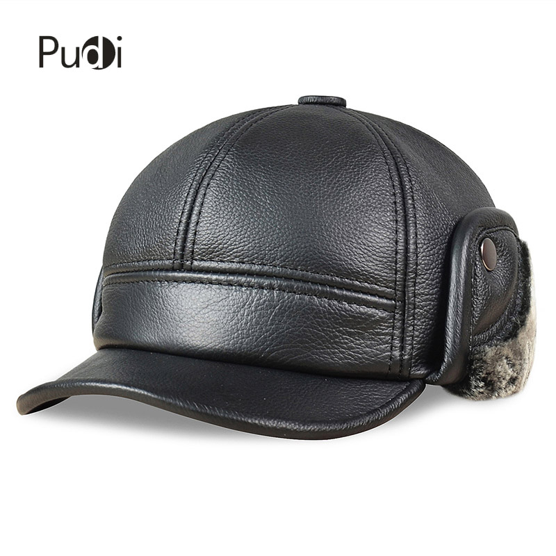 HL083 Men's Genuine Leather baseball caps hats Russian Winter snow Warm baseball Hat / Cap  with Faux fur inside for old man