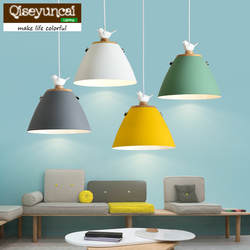 Qiseyuncai Nordic журнала один головой птицы Ресторан E27 Люстра Творческий Простой Цвет Макарон барная стойка Гостиная освещения