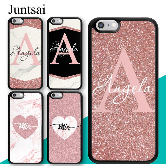 the best attitude faa50 5c8af US $2.95 5% OFF|Juntsai Personalised Name Initial Marble Shimmer Pink TPU  Case For iPhone X XR XS MAX 6S 6 7 8 Plus 5S SE Cover Coque Shell-in Fitted  ...
