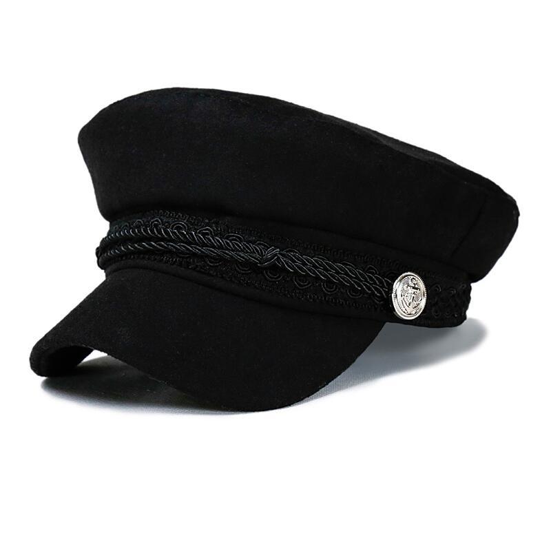 Fashion Blank Black High Quality Military Hat For Women Spring Autumn Winter Hats Felt Cap Winter Ladies Black Hat Beret Cap