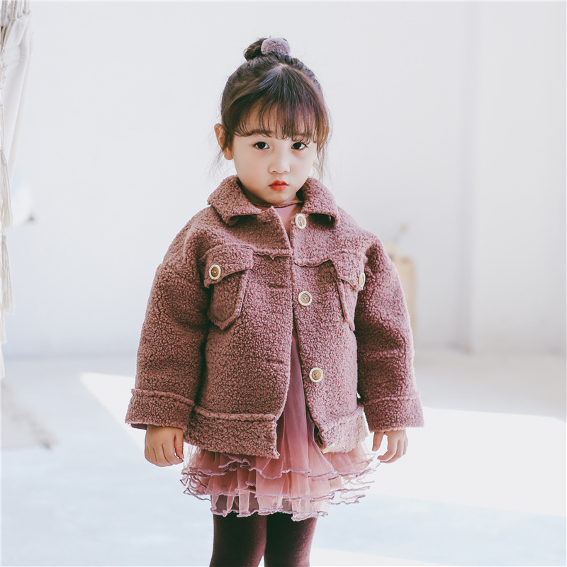 Girls Wool Coat Autumn Warm Pocket Kids Coats 2 3 4 5 6 Yrs Baby Windbreaker Solid Lambswool Outerwear Toddler Trench Short Coat