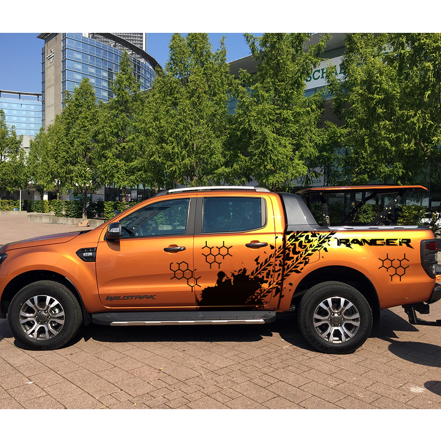 for Ford ranger 2012 2017sticker 10pc side bpdy rear trunk geometry tire tracks ranger protect scratch graphic vinyls decals - 2