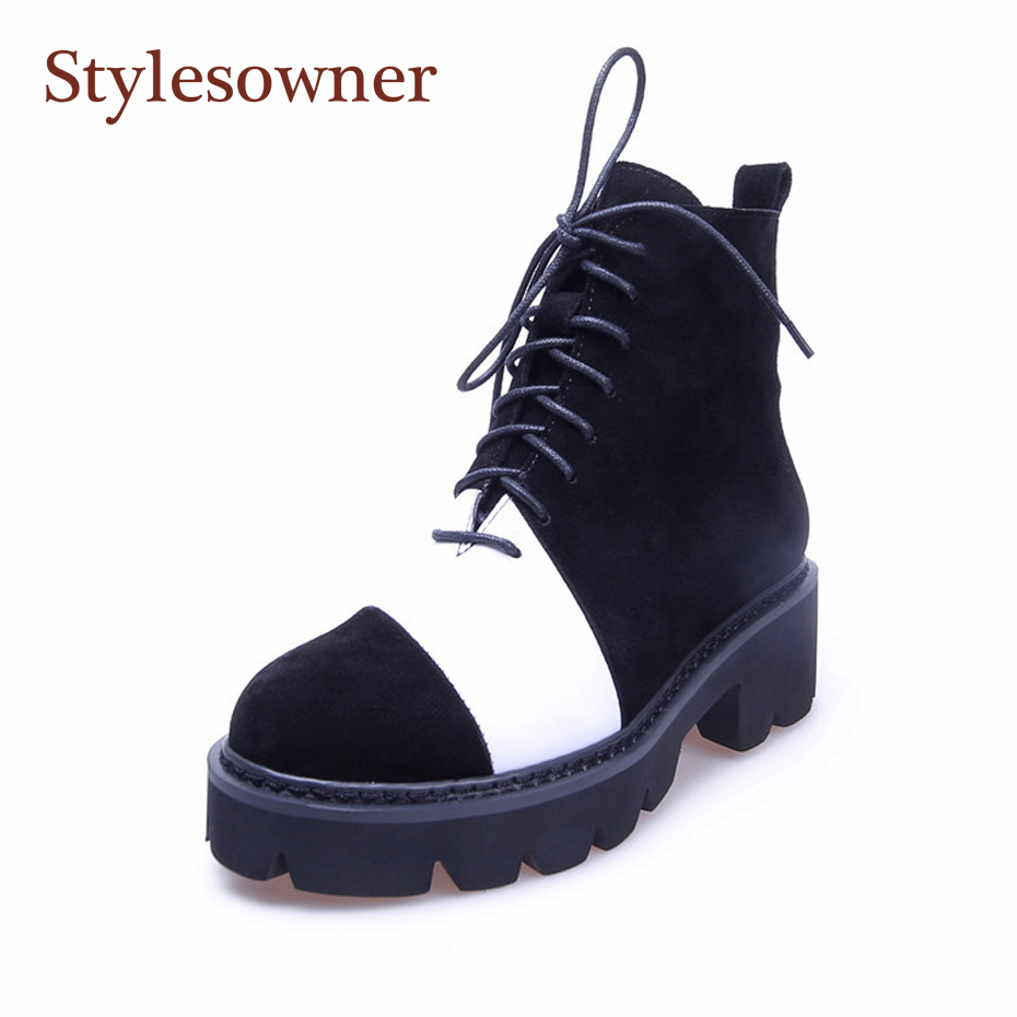 Stylesowner Ankle Boots for Women  Zapatos De Mujer Black White Cow Suede Real Leather Martin Boots Flat Bottom Cool BootieStylesowner Ankle Boots for Women  Zapatos De Mujer Black White Cow Suede Real Leather Martin Boots Flat Bottom Cool Bootie