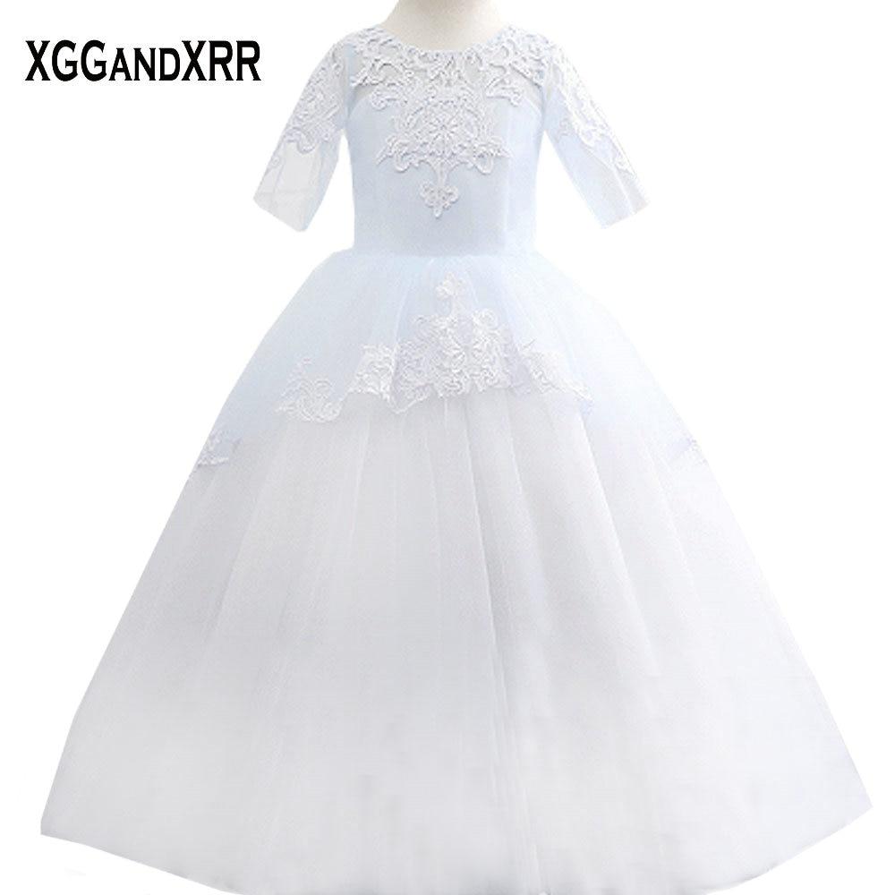 Three Quarter Sleeves Tulle Ball Gown Flower Girl Dresses 2018 Scoop ...