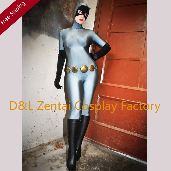 Free Shipping DHL Wholesale Adult Sexy Gray And Black Cat Woman Spandex Superhero Zentai Catsuit Cosplay