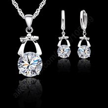 Delicate Attractive Bow-Knot Crystal 925 Sterling Silver Necklace Earrings Set For Women Wedding Party Jewelry Gift(China)