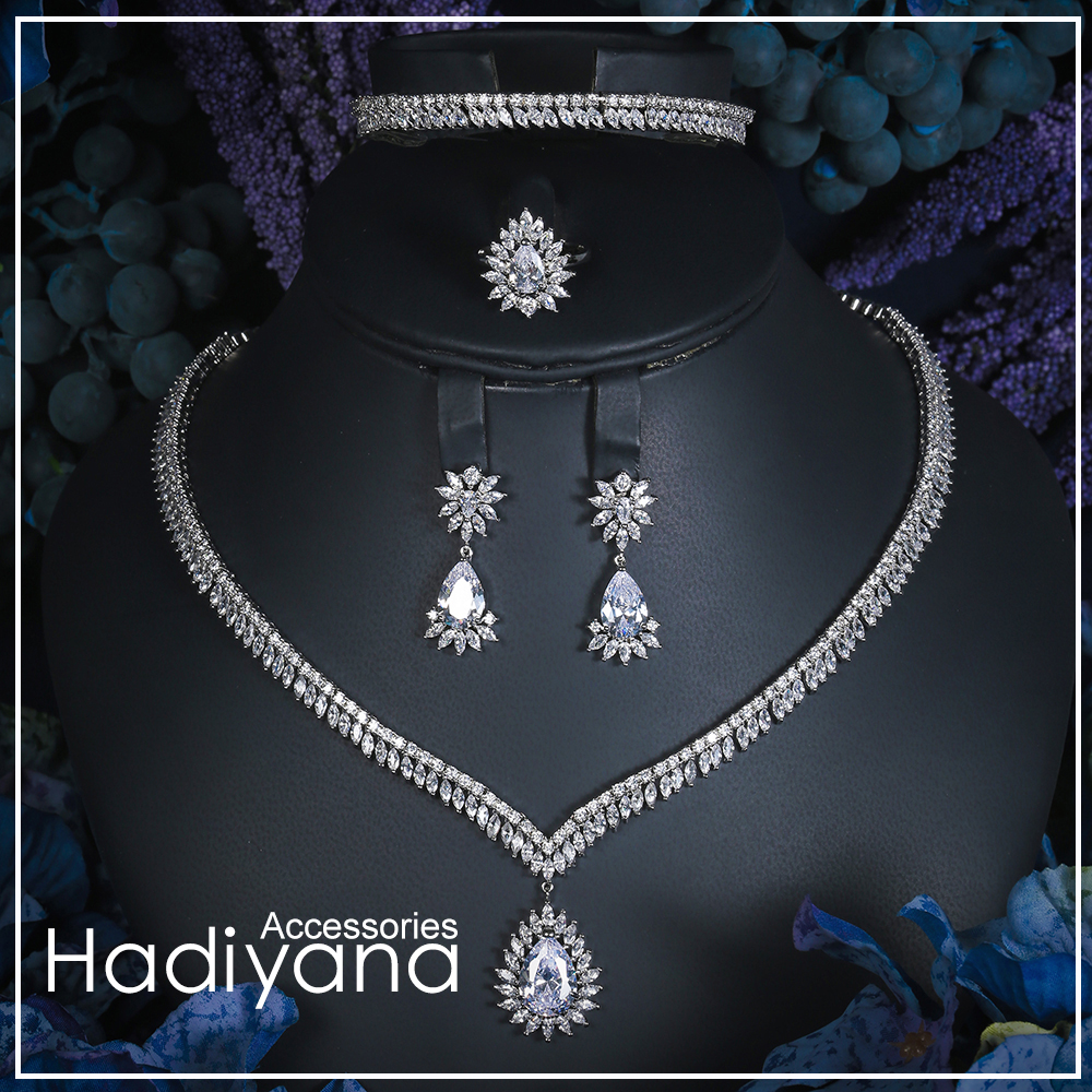 Hadiyana Women Waterdrop 4pcs Jewelry Set Plating Color Guaranteed Zircon Jewelry Sets For Wedding And Engagement Party CN105Hadiyana Women Waterdrop 4pcs Jewelry Set Plating Color Guaranteed Zircon Jewelry Sets For Wedding And Engagement Party CN105
