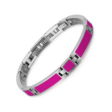 Rose-red Stainless Steel Magnet Bracelet Drip Glue for Ladies Valentines Day Gift