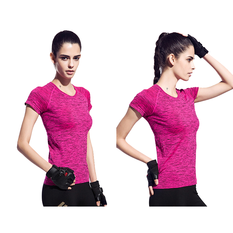 Women Quick Dry Sport Shirt Professional Short Sleeve Breathable Flexible Exercises Yoga Top T-Shirts For Gym Running Fitness