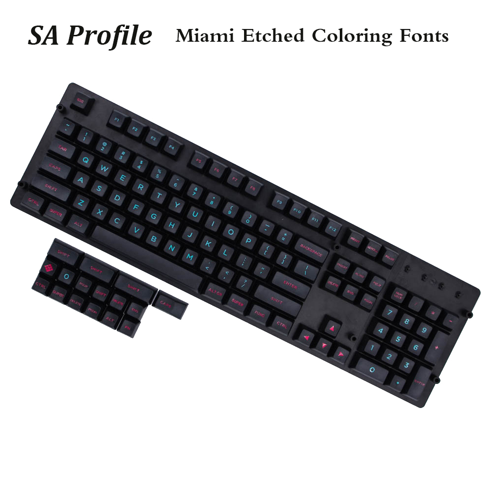 MP SA Profile pbt Keycap 120 Keys Miami Etched Coloring Fonts Keycaps PBT Radium Valture Keycap for Mechanical Keyboard mp 104 87 keys red gradient cherry mx switch pbt keycaps radium valture side printed keycap for mechanical gaming keyboard