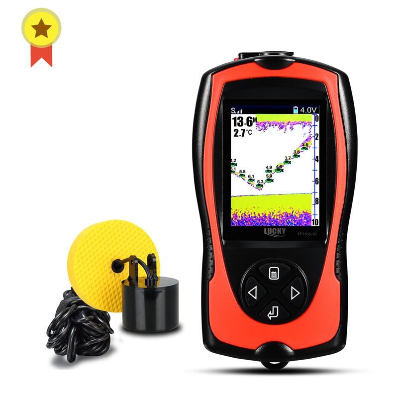 Russian menu LUCKY FF1108 1CT FF1108 1C Portable Fish Finder Depth Sonar Sounder Alarm Waterproof echo