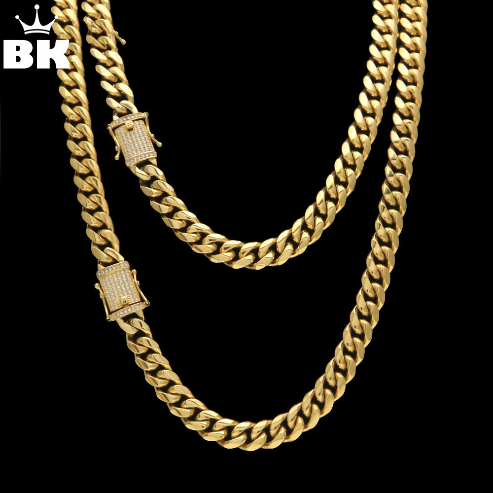 12mm/14mm Stainless Steel CZ Miami Cuban Chain Luxury Hip Hop Men Curb Link Necklace Micro Pave Cubic Zircon Clasp 24inch 30inch