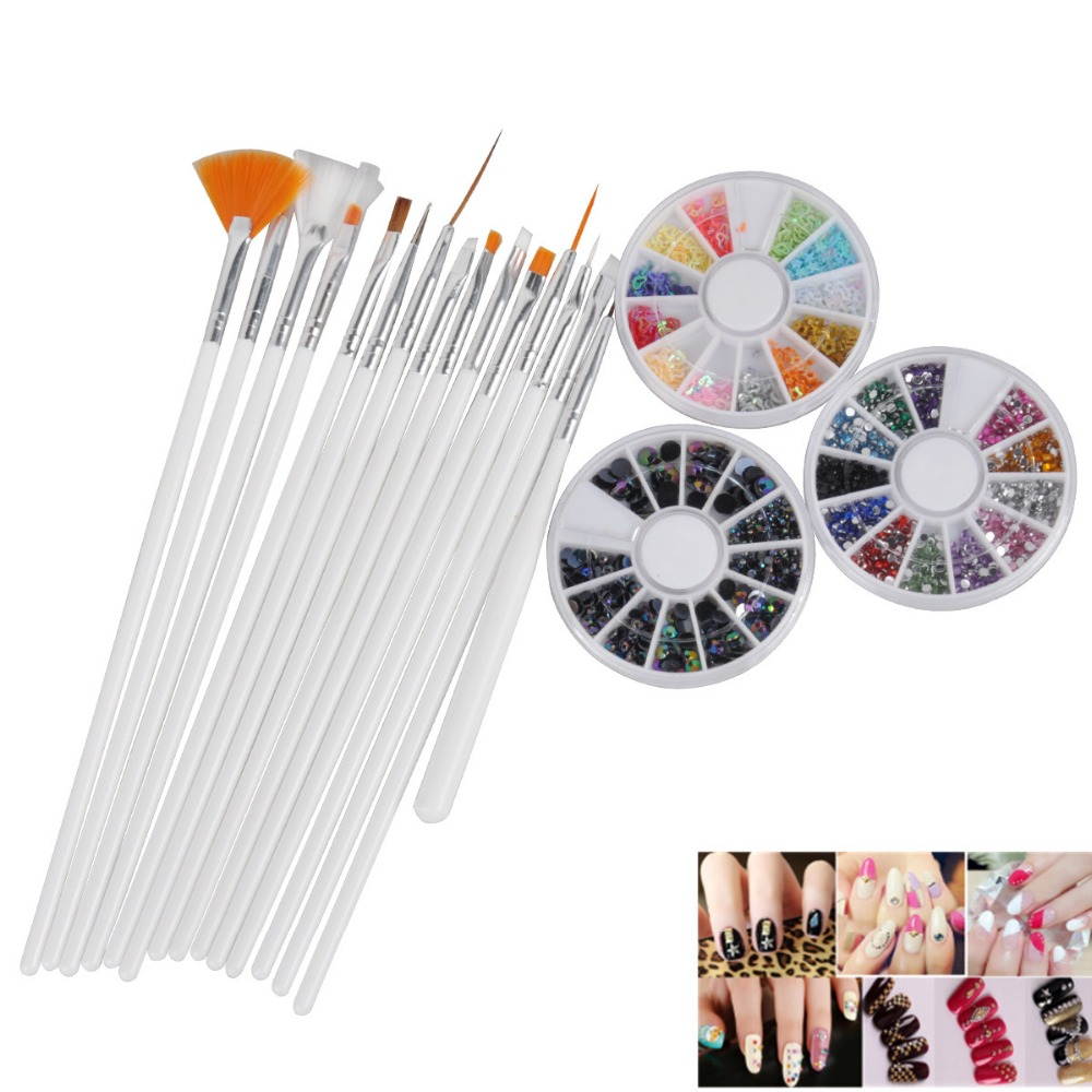 12 Colors Nail Art rhinestones Acrylic Nail Decoration Rhinestones Glitter + 15Pcs Nail Brushes Dotting Pen Tools biutee 12 colors nail rhinestones 4mm acrylic nail art rhinestones decoration for uv gel phone laptop diy nail tools
