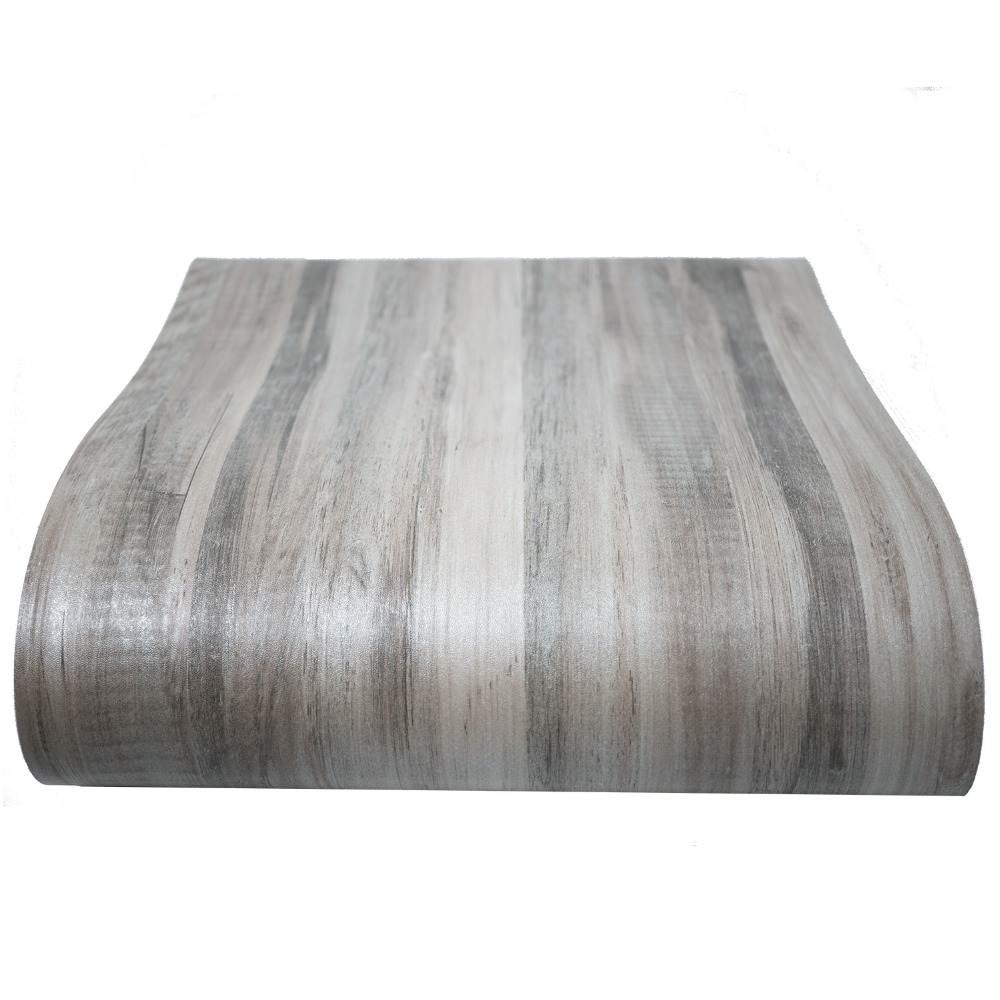 Gray wood vinyl film waterproof tile flooring kitchen for Gray vinyl wallpaper