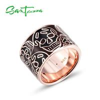 SANTUZZA Silver Rings for Women Skull Ring Pure 925 Sterling Silver Party Exaggerate Trendy Fashion Jewelry HANDMADE Enamel