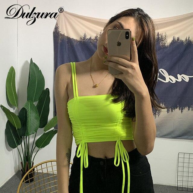 Dulzura 2019 summer women crop top tanks tank top bandage sexy backless festival streetwear cute drawstring party club tops