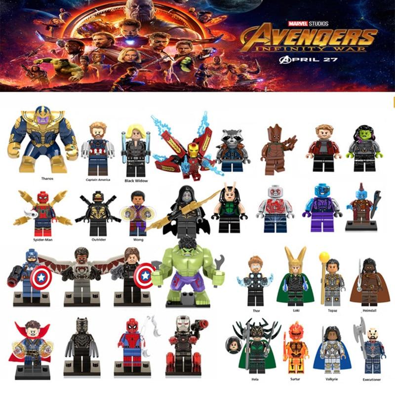 цена на Diy For legoing Marveled Super Heroes Thanos Spider Man Iron Man Thor Loki Avengers 3 Infinity War Building Blocks Toys Figures