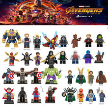 Diy For legoing Marveled Super Heroes Thanos Spider Man Iron Man Thor Loki Avengers 3 Infinity War Venom Blocks Toys Figures(China)