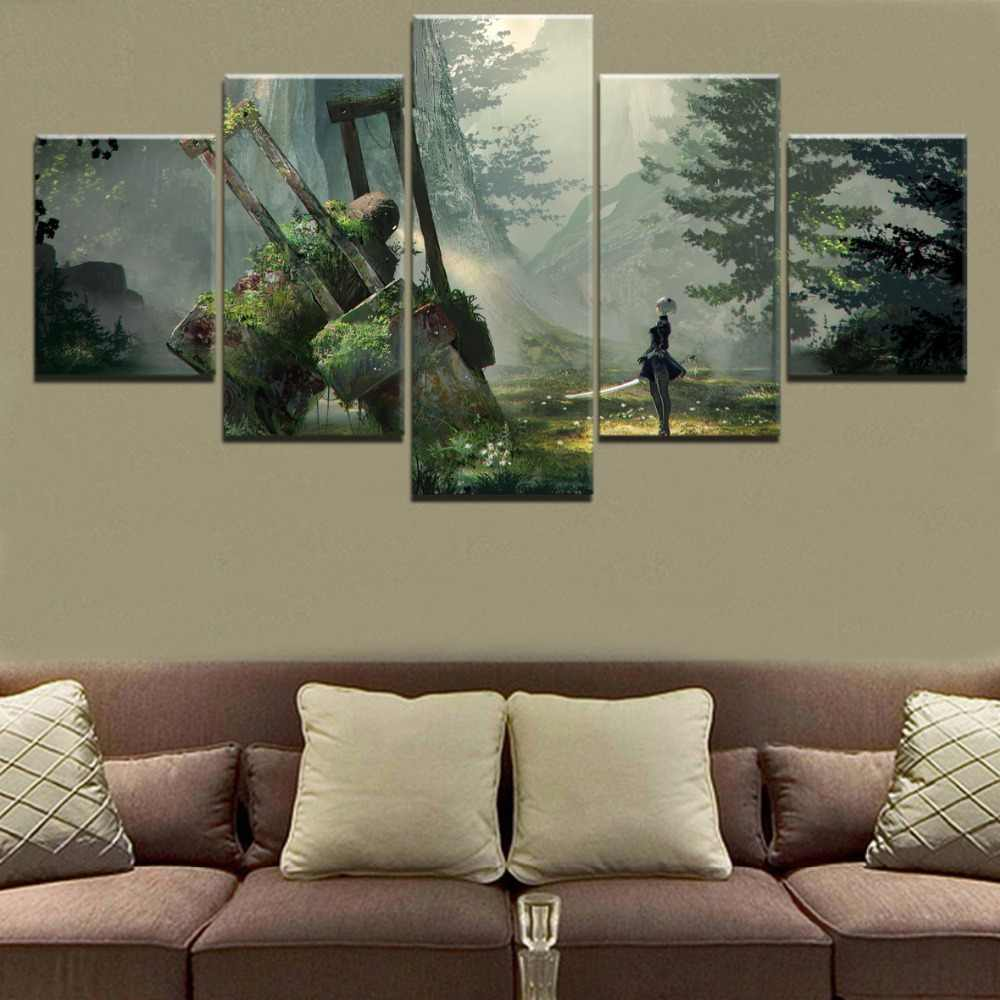 Landscape Painting Canvas HD Printed Game Painting Wall Art Decor Modular Picture Framework 5 Panel NieR Automata 2B Game Poster