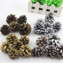 4pcs Christmas Pine Cones Bauble Xmas Tree Party Hanging Decoration Ornament enfeites natal 4-5CM