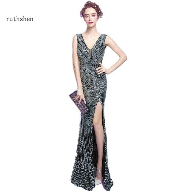cf32648ac Ruthshen Sexy Largo Vestidos de Noche del V-cuello de Lentejuelas Bling  Bling de Plata