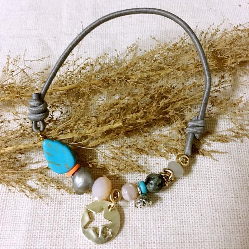 Dongmu Jewllery New Handmade Crystal Bracelet Bohemia Beaded Bracelet Stretch Leaves Accessories For Women Natural Stone