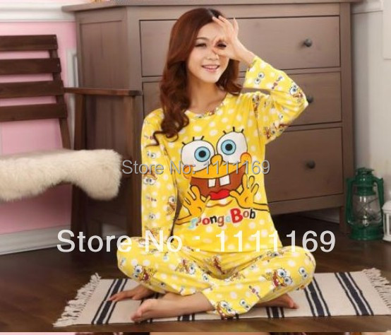 c703c2a8cb 2014 Milk silk spongebob pajamas for girls spring long-sleeved ladies suits  tracksuit home sleep wear clothes set sponge bob