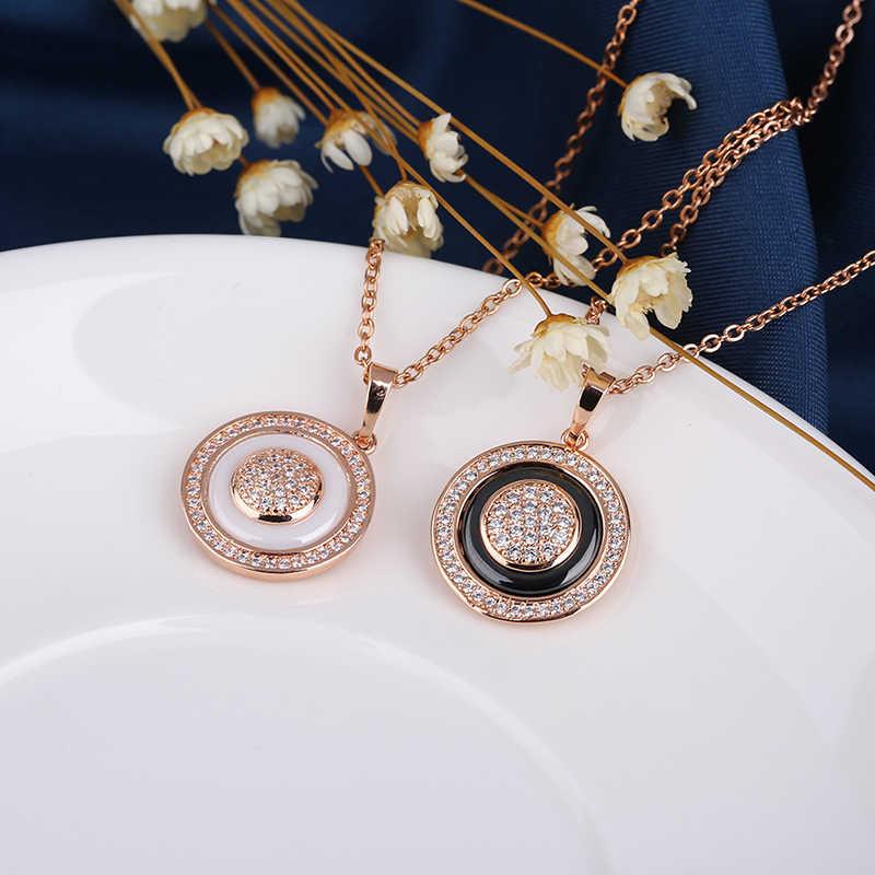 หญิง VINTAGE 585 Rose Gold วงกลมจี้สร้อยคอสำหรับสตรีแฟชั่นเซรามิคสร้อยคอของขวัญเครื่องประดับ Elegant