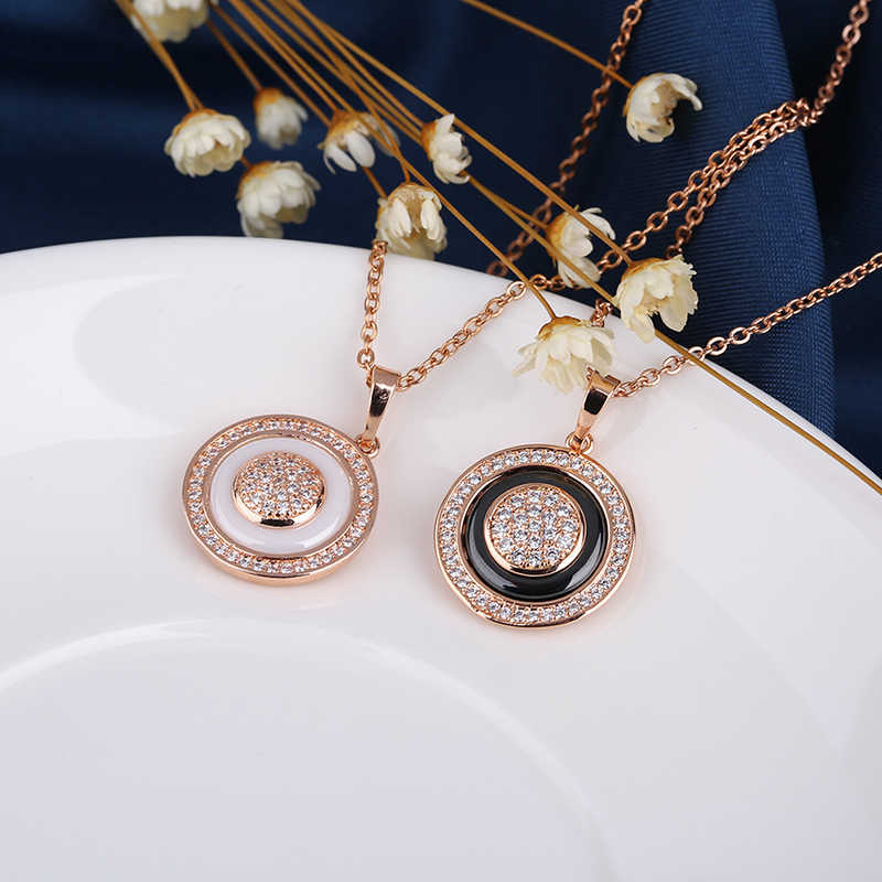 Weibliche Vintage 585 Rose Gold Kreis Anhänger Halsketten Für Frauen Mode Gesunde Keramik Aussage Halskette Elegante Schmuck Geschenk