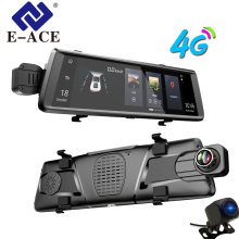 hot deal buy e-ace gps 4g navigator android car dvr 10 inch touch adas rearview mirror navigation recorder dual lens dash camera vehicle gps