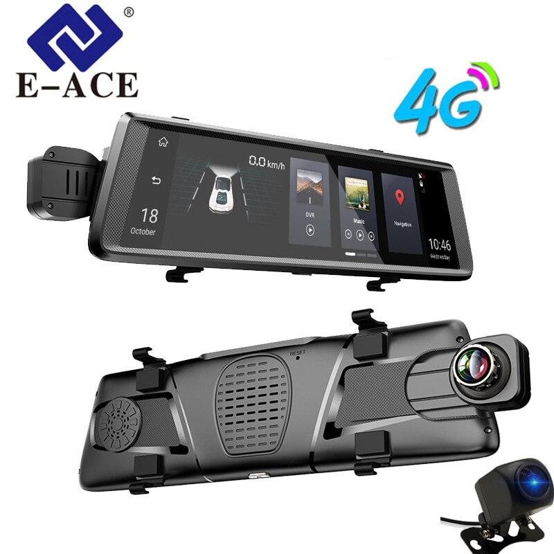 E-ACE GPS 4g Navigatore Android Car DVR 10 pollice Touch ADAS Specchietto retrovisore di Navigazione Recorder Dual Lens Macchina Fotografica del Precipitare GPS del veicolo