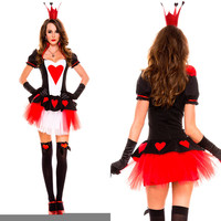 Fantasia Red Poker Queen Costume Cosplay Halloween Christmas Costume For Woman Disfraces Exotic Apparel Game Uniforms