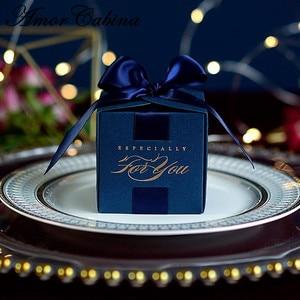 Image 1 - 20 قطعة هدايا الزفاف الإبداعية هدية صندوق حلوى مربع للتعميد استحمام الطفل حفلة عيد ميلاد لوازم التفاف مع الشريط