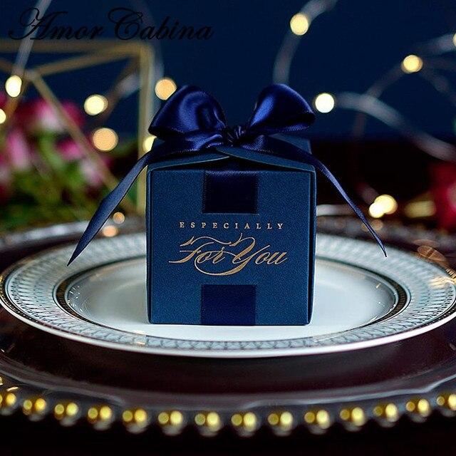 20 قطعة هدايا الزفاف الإبداعية هدية صندوق حلوى مربع للتعميد استحمام الطفل حفلة عيد ميلاد لوازم التفاف مع الشريط