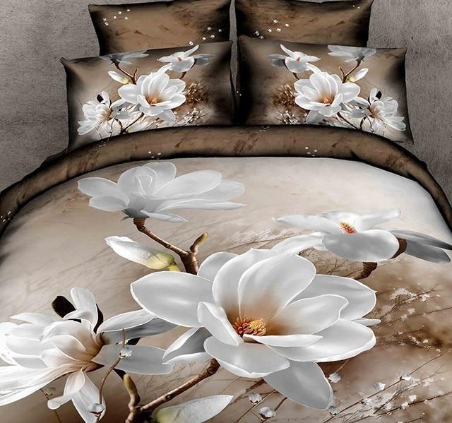 3d White Floral Bedding Set Magnolia Flower Duvet Cover Bedspreads