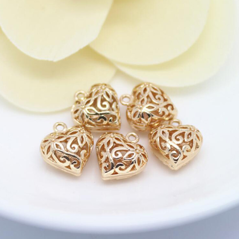 Wholesale Rose Gold Plated Hollow Out Sculpture Hearts Charms For
