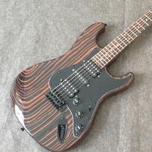 free shipping starshine Zebra wood ST body and neck ST electric guitar big headstock ,black hardware ,single single humbuckers цена