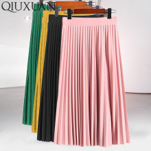Женская модная плиссированная Однотонная юбка до середины икры с высокой талией, универсальная шифоновая одежда, Женские повседневные эластичные плотные юбки